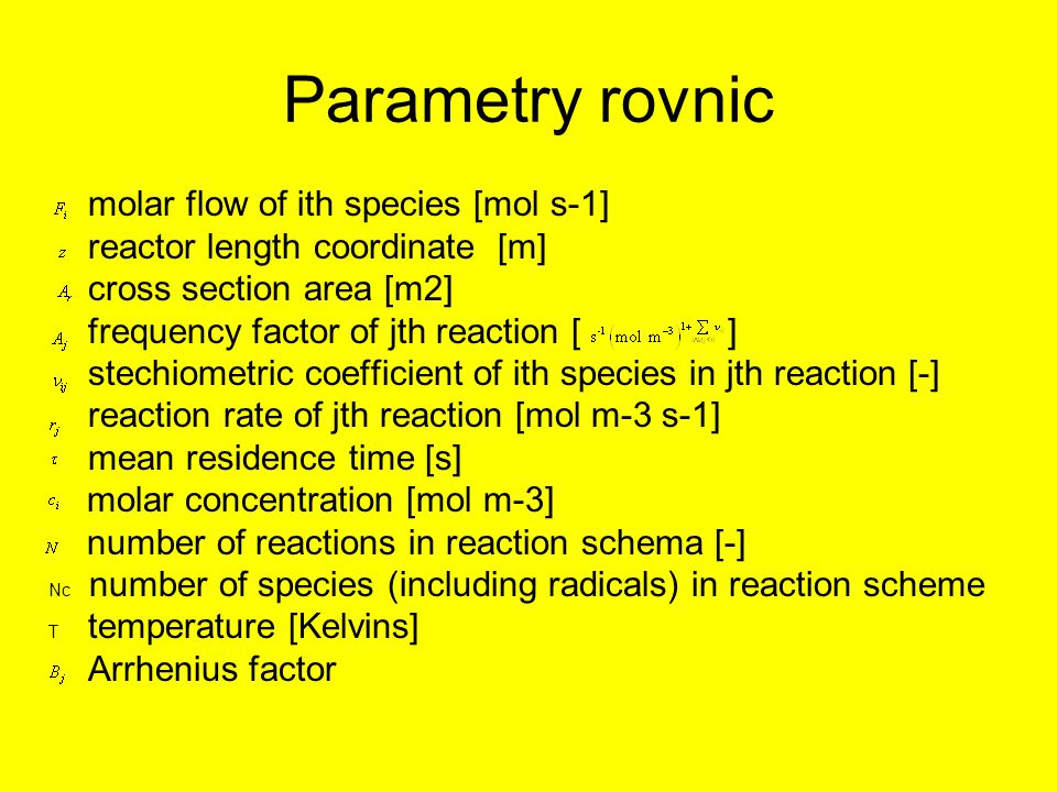 Parametry rovnic molar flow of ith species [mol s-1]